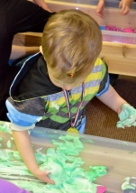 preschool sensory table shaving cream and paint messy play